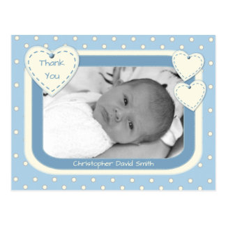 Thank you Baby Boy Photo Postcard Blue Polka Dots