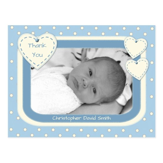 Thank you Baby Boy Photo Postcard Blue Polka Dots