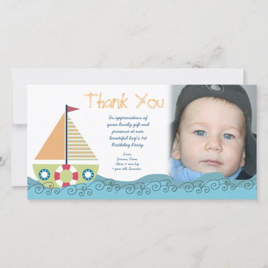 Thank You Baby Boys 1st Birthday Party Photocard Zazzle