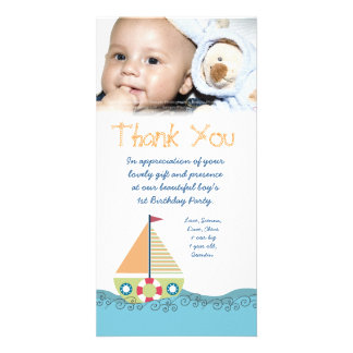 Thank You Baby Boy's 1st Birthday Party Photocard Card