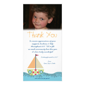 Thank You Baby Boy's 1st Birthday Party Photocard Photo Card