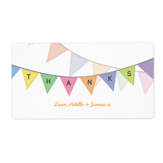 Thank You Baby Circus Rainbow Banner Label