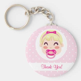 Thank you Baby Girl Design Basic Round Button Keychain