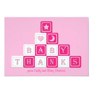 Thank You Baby Girl Shower Flat 3.5 x 5 Card