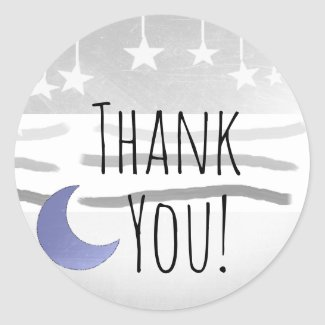 Thank You Baby Shower Blue Gray Moon and Stars Classic Round Sticker