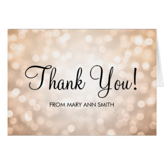 Thank You Baby Shower Copper Glitter Lights Card