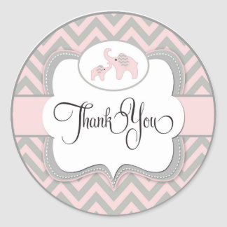 thank you baby shower elephant sticker in pink