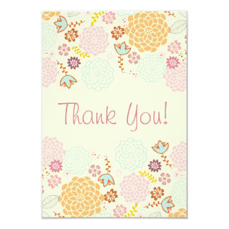Thank You Baby Shower Fancy Modern Floral 3.5x5 Paper Invitation Card