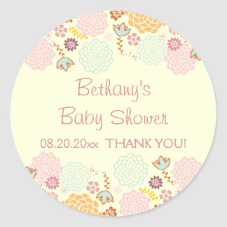 Thank You Baby Shower Fancy Modern Floral Classic Round Sticker