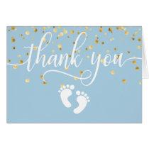 THANK YOU Baby Shower Feet Blue Gold BOY   BLANK