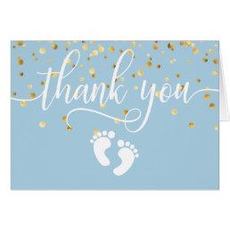 THANK YOU Baby Shower Feet Blue Gold BOY | BLANK Card
