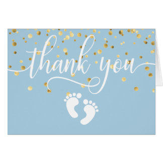 THANK YOU Baby Shower Feet Blue Gold BOY | BLANK Card
