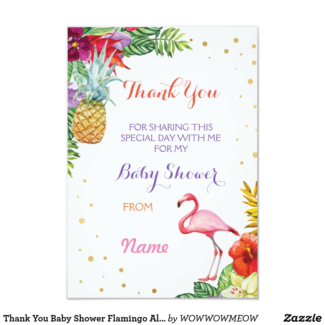 Thank You Baby Shower Flamingo Aloha Luau Cards