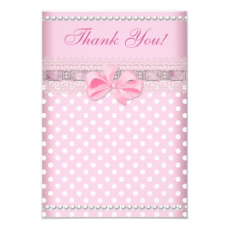Thank You Baby Shower Girl Baby Pink Spot Pearl 3.5x5 Paper Invitation Card