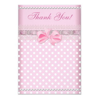 """Thank You Baby Shower Girl Baby Pink Spot Pearl 3.5"""" X 5"""" Invitation Card"""