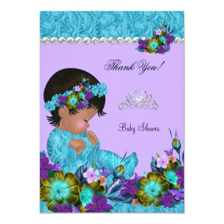 Thank You Baby Shower Girl Teal Blue Purple Card