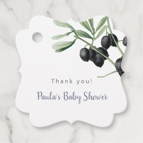 Thank You Baby Shower Olive Branch Greenery Simple Favor Tags