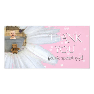 Thank You Baby Shower Photo | Pink Daisy Hearts Card