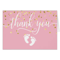 THANK YOU Baby Shower PINK Gold GIRL   BLANK