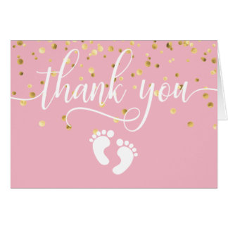 THANK YOU Baby Shower PINK Gold GIRL | BLANK