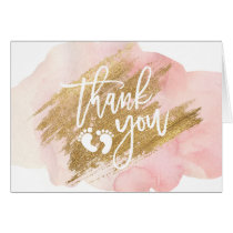 THANK YOU Baby Shower Pink Gold Watercolor