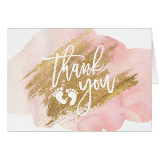 THANK YOU Baby Shower Pink Gold Watercolor Card