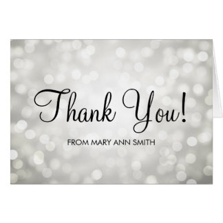 Thank You Baby Shower Silver Glitter Lights Greeting Card