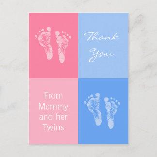 Thank You Baby Shower Twins Boy Girl Footprints Announcement Postcard