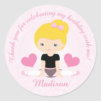 Thank You Ballerina Birthday Party Party Custom Classic Round Sticker