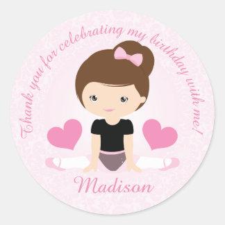 Thank You Ballerina Birthday Party Party Custom Classic Round Sticker