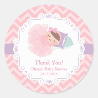 Thank You Ballerina Tutu Baby Girl Shower Stickers