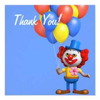 Thank You! Balloons Clown Thankyou Card
