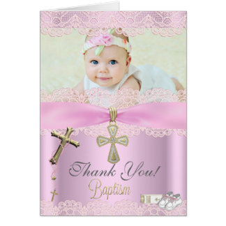 Thank You Baptism Pink Cross Girl Lace Stationery Note Card