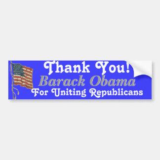 Thank You Barack Obama Car Bumper Sticker