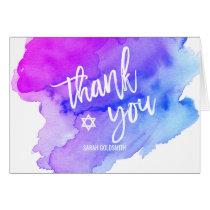 Thank you Bat Bar Mitzvah Watercolor Blue Purple