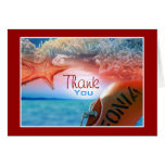 """""""Thank you"""" beach theme tropical cruise Stationery Note Card"""
