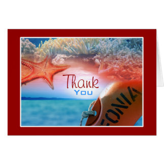 """Thank you"" beach theme tropical cruise Card"