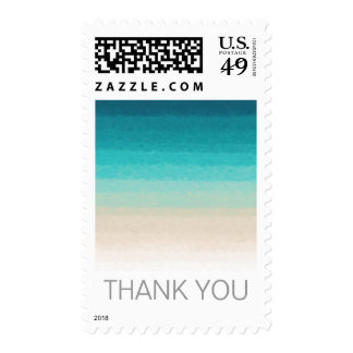 Thank You Beach Wedding Watercolor Ombre Custom Postage