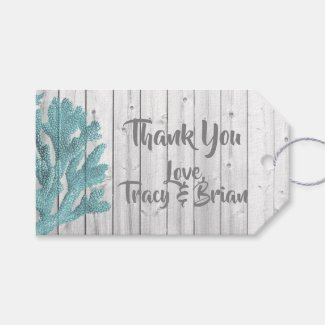 Thank you Beachy Wood Teal Coral Gift Tag