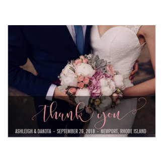 Thank You | Beautiful Pink Typography Photocards Postcard