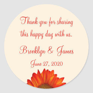 Thank You Beige Fall Wedding Stickers Sunflower