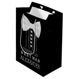 Thank You Best Man White Bow Tie Tuxedo Shirt Medium Gift Bag