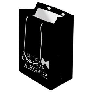 Thank You Best Man With White Bow Tie Personalize Medium Gift Bag