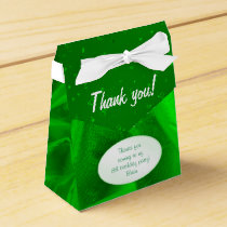 """Thank You"" Birthday Green Textured Fabric Look Favor Box"