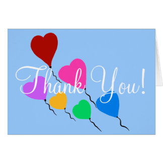 Thank You Birthday Heart Balloons Blank Cards