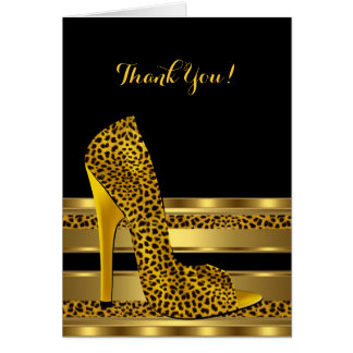 Thank You Birthday Party Celebration Leopard 3 Greeting Card
