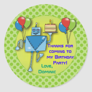 Thank You Birthday Party  Green Stickers