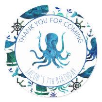 Thank You Birthday Party Marine Octopus Nautical Classic Round Sticker