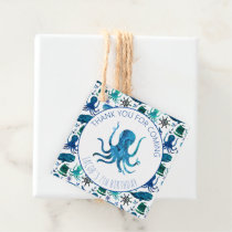 Thank You Birthday Party Marine Octopus Nautical Favor Tags