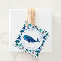 Thank You Birthday Party Marine Whale Nautical Favor Tags